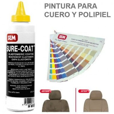 Pintura Cuero Sure Coat Barniz Alto Brillo