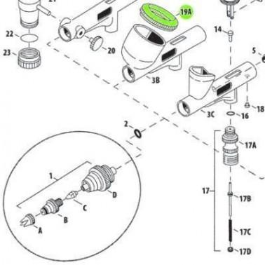 Recambio Aerografo Iwata Custom Micron Tapa Deposito 20cc