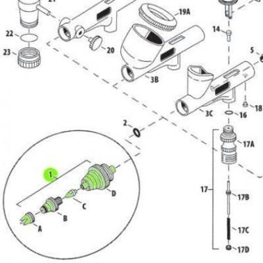 Recambio Aerografo Iwata Custom Micron Set Boquilla 0.18