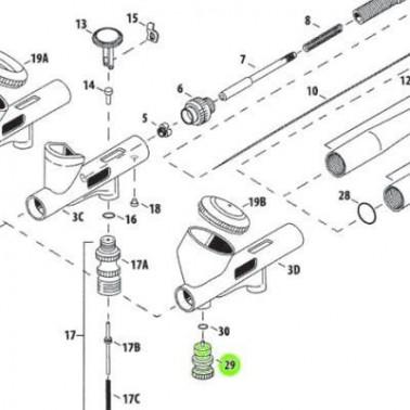 Recambio Aerografo Iwata Custom Micron Valvula Presion Aire